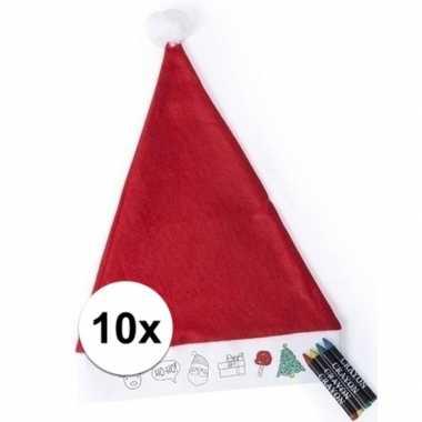 10 kerstmutsen voor kinderen inkleurbaar inclusief 4 waskrijtjes kope