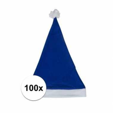 100x blauwe voordelige kerstmuts voor volwassenen kopen