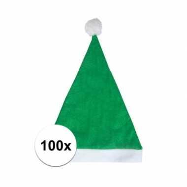 100x groene voordelige kerstmuts voor volwassenen kopen