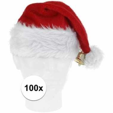 100x luxe pluche kerstmutsen met bel kopen