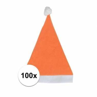 100x oranje voordelige kerstmuts voor volwassenen kopen