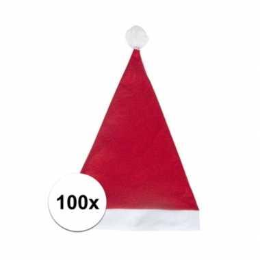 100x rode voordelige kerstmuts voor volwassenen kopen