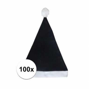 100x zwarte voordelige kerstmuts voor volwassenen kopen