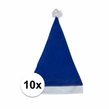 10x blauwe voordelige kerstmuts voor volwassenen kopen
