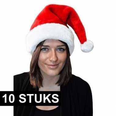 10x kerstmuts rood pluche voor volwassenen kopen