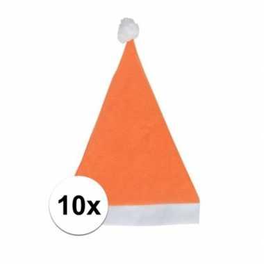 10x oranje voordelige kerstmuts voor volwassenen kopen