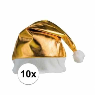10x stuks gouden glimmende kerstmutsen kopen