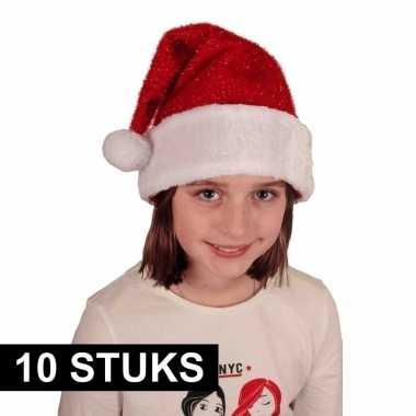 10x voordelige pluche kerstmuts met glitters voor kinderen kopen