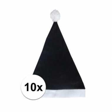 10x zwarte voordelige kerstmuts voor volwassenen kopen