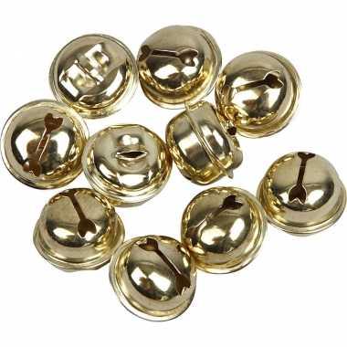 12x gouden metalen belletjes 13 15 17 mm met oog hobby/knutsel benodigdheden kopen