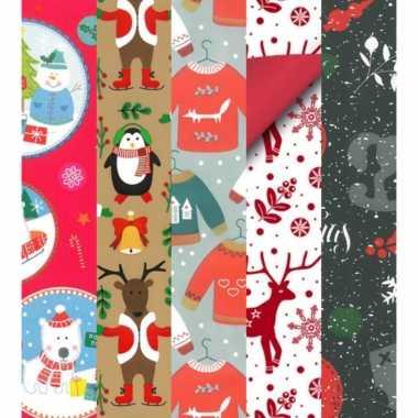 15x rollen kerst inpakpapier/cadeaupapier diverse prints 2,5 x 0,7 meter voor kinderen kopen