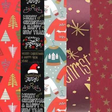 15x rollen kerst inpakpapier/cadeaupapier diverse prints 2,5 x 0,7 meter voor volwassenen kopen