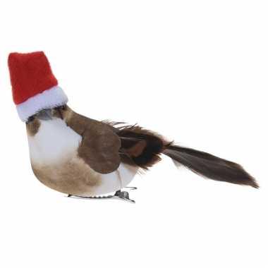 1x kerstboomversiering donkerbruine vogels met kerstmuts op clip 12 cm kopen