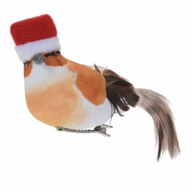 1x kerstboomversiering oranje vogels met kerstmuts op clip 12 cm kopen