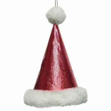 1x kersthangers figuurtjes glitter kerstmuts 17 cm kopen