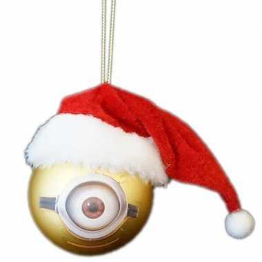 1x kunststof kerstballen minions carl met kerstmuts 6 cm kopen