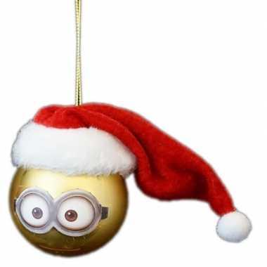 1x kunststof kerstballen minions dave met kerstmuts 6 cm kopen