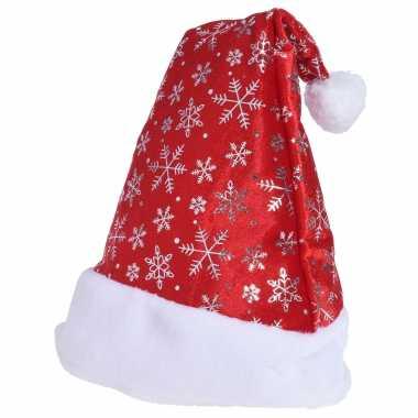 1x rode kerstmutsen met sneeuwvlokken voor volwassenen kopen