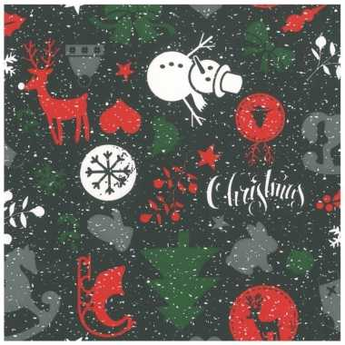 1x rollen kerst inpakpapier/cadeaupapier zwart 2,5 x 0,7 meter kopen