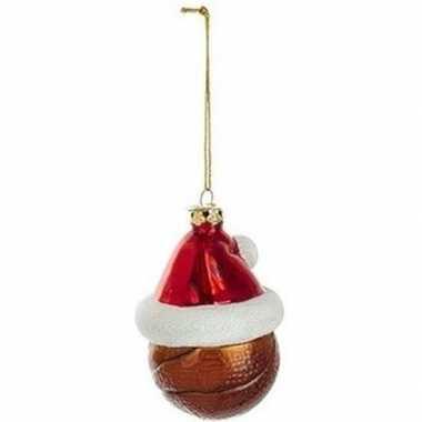 1x sport thema kersthangers figuurtjes basketbal kerstmuts 7 cm kopen