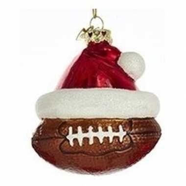 1x sport thema kersthangers figuurtjes rugbybal kerstmuts 7 cm kopen