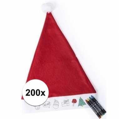 200x kerstmuts voor kinderen inkleurbaar inclusief 4 waskrijtjes kope