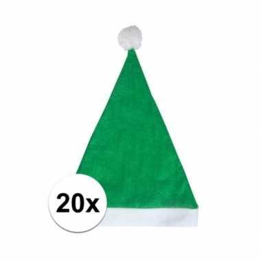 20x groene voordelige kerstmuts voor volwassenen kopen