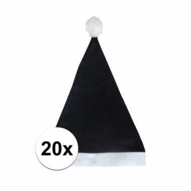 20x zwarte voordelige kerstmuts voor volwassenen kopen