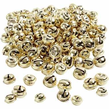 220x gouden metalen belletjes 13 15 17 mm met oog hobby/knutsel benodigdheden kopen