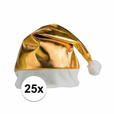 25x stuks gouden glimmende kerstmutsen kopen
