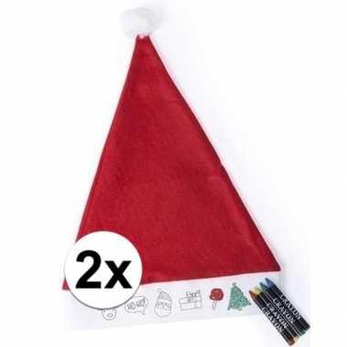 2x kerstmutsen voor kinderen inkleurbaar inclusief 4 waskrijtjes kope