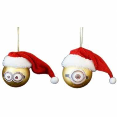 2x kunststof kerstballen minions dave en carl met kerstmuts 6 cm kope