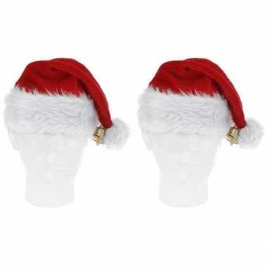 2x luxe pluche kerstmutsen met bel kopen