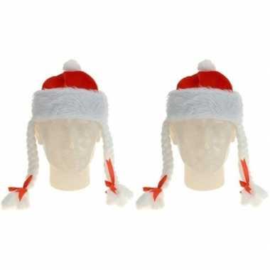 2x rode kerstmutsen met vlechten kopen