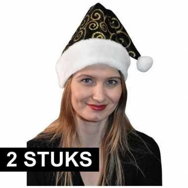 2x stijlvol kerstmutsje zwart/goud kopen