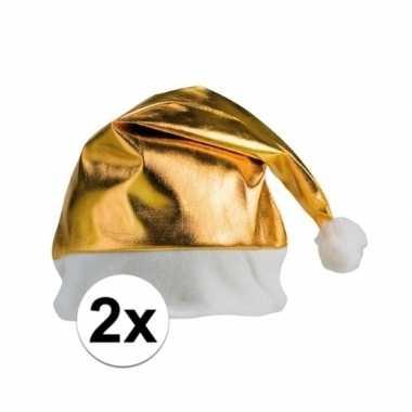 2x stuks gouden glimmende kerstmutsen kopen