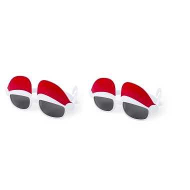 2x stuks kerst thema zonnebrillen/feestbrillen met kerstmutsen kopen