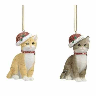 2x stuks kersthangers katten/poezen met kerstmuts 9 cm kerstversiering kopen