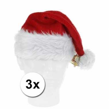 3 luxe kerstmutsen voor volwassenen met belletje