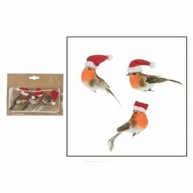 3x kerstboomversiering vogels op clip met kerstmuts 9 cm kopen