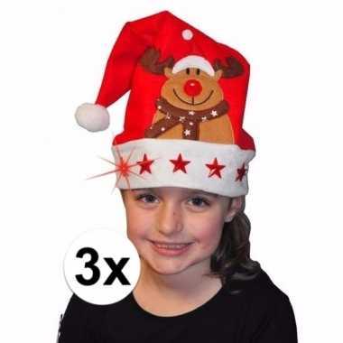 3x kerstmuts met rendier en lichtjes voor kinderen kopen