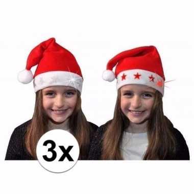 3x kerstmuts met witte sterren en lichtjes voor kinderen kopen