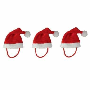 3x mini kerstmutsen met bandje voor knuffels/huisdieren kopen