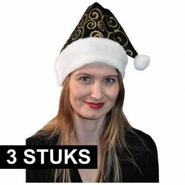 3x stijlvol kerstmutsjes zwart/goud kopen
