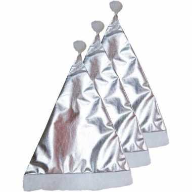 3x zilveren kerstartikelen kerstmuts kopen