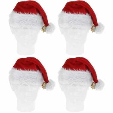 4x luxe pluche kerstmutsen met bel kopen