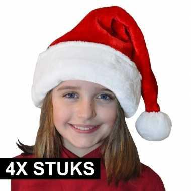 4x pluche luxe kerstmutsen rood/wit voor kinderen kopen
