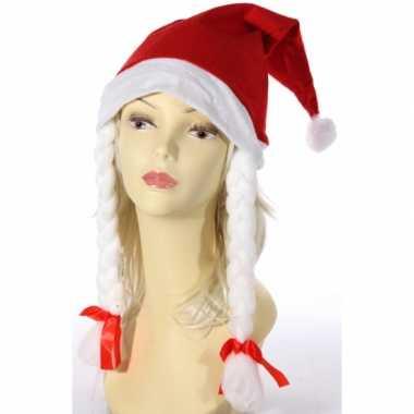 4x rode fluwelen kerstmuts met vlechten kopen