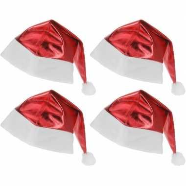 4x rode glimmende kerstman kerstmutsen voor volwassenen kopen