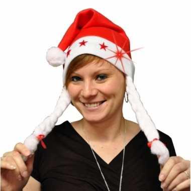 4x stuks kerstmutsen met vlechtjes en lichtjes kopen